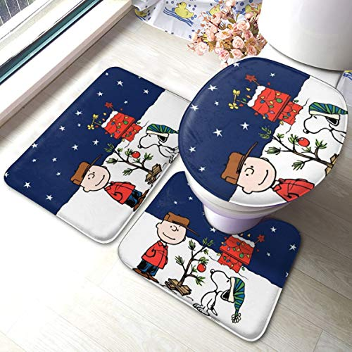 Christmas Cartoon Snoopy Bath Mat 3 Piece Set Bathroom Carpet Set Soft Anti-Skid Pads Bath Mat + Contour Pads + Toilet Lid Cover, Absorbent Carpet Bath and Mat Anti-Slip Pads Set