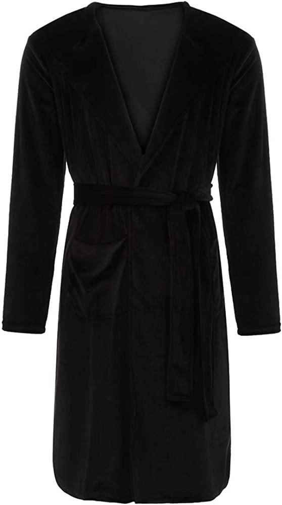 Amiley Mens Solid Colored Robe Long Hooded Bathrobe Super Soft Flannel Dressing Robe Size S-5XL