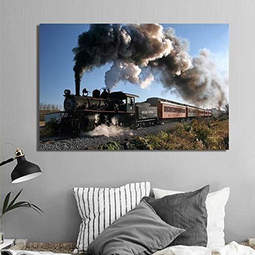 wZUN Locomotora de Vapor clásica Pintura en Lienzo Carteles e Impresiones Arte Mural imágenes de Trenes para la decoración del hogar de la Sala de Estar 60x80 Sin Marco