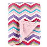 Hudson Baby Unisex Baby Plush Blanket with Sherpa Back, Pink, One Size