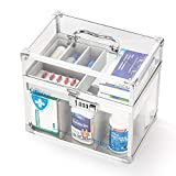 Ollieroo Combination Lock Medicine Box Lockable Medication Box First Aid Storage Box Clear 10×9×6.6 inch