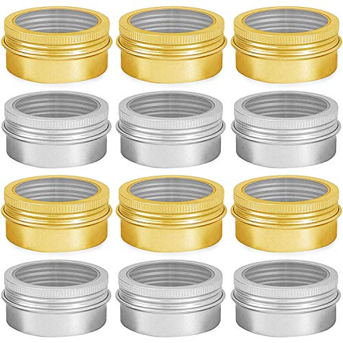 HNXAZG 05 Ounce Aluminum Tin Cans Empty Containers With Transparent Screw Top Lids for Store Spices Cosmetic Lip Balm Candles 12 PCS