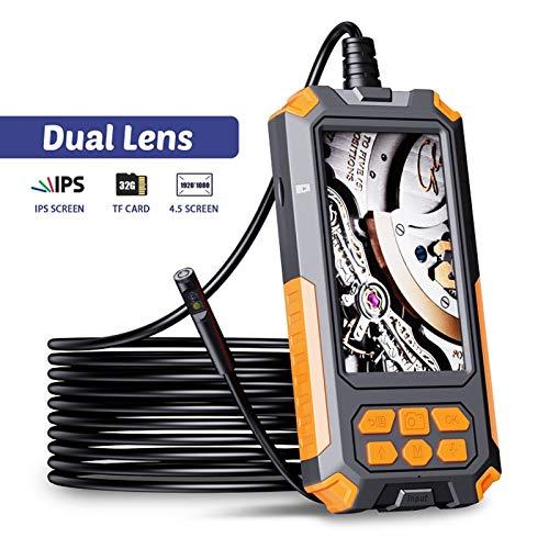 WangQianNan Endoskop 8MM Dual Lens 1080P Industrie Endoskop HD 4.5 Zoll IPS-Screen 9 LED-Leuchten IP68 wasserdichte Doppelkamera mit 32G TF-Karte für Abwasserleitungsdetektor, (Cable Length : 10m)