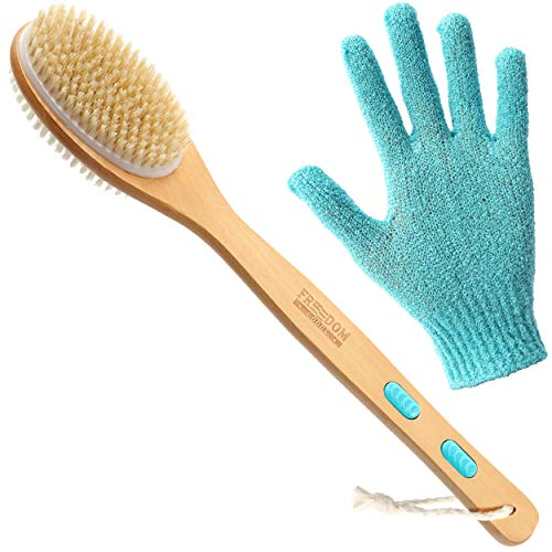 Back Brush for Shower and Bath (Shower Body Brush), Long Handled Body Brush, Two Sided Back Brush with Hard and Soft Bristles (Body Scrubber), Shower Back Scrubber (Bath Brush) with Exfoliating Glove