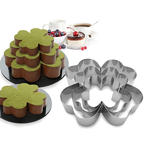 3 Tier Four-Leaf Clover - Shapes Multilayer Anniversary Birthday Cake Baking Pans,Stainless Steel 3 Sizes Rings Four-Leaf Clover - Shapes Molding Mousse Cake Rings(Four-Leaf Clover - Shapes,Set of 3)