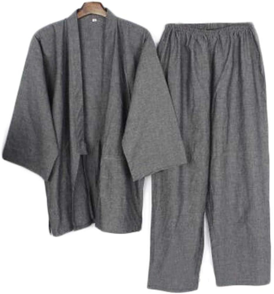 Japanese Style Men Thin Cotton Bathrobe Pajamas Kimono Bathrobes Sleepwear Suit-F09 Deep Gray