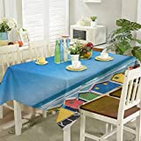 homecoco Printed Tablecloth Colorful Bathhouses at Muizenberg Cape Town South Africa Standing in a Row Touristic 54'x72' Beach Rectangle Tablecloth