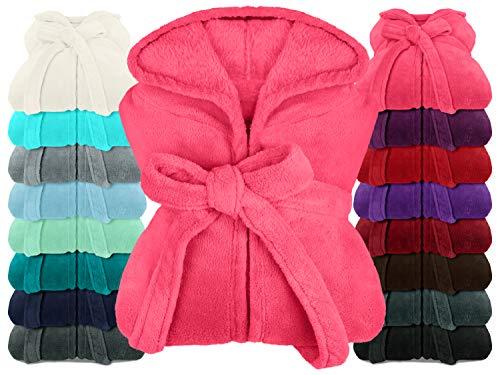 npluseins extra weicher Kapuzen-Bademantel aus Kuschelfleece - in modernen Farben und verschiedenen Größen - Unisex & wadenlang, XXL, pink