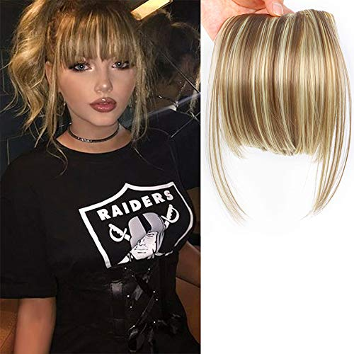 "LEEONS Fringe Bangs Synthetic Hair Extensions Clip in Bangs 6"" Short Straight Hairpiece Front Neat Bang Two Side Blonde(18H613#)"