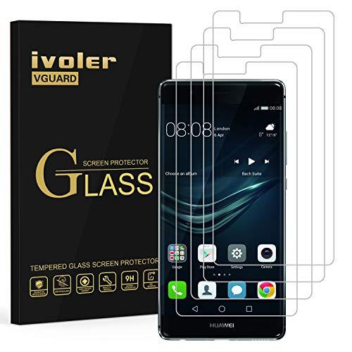 ivoler [4 Stücke] Panzerglas Schutzfolie für Huawei P9 Plus, 9H Festigkeit, Anti- Kratzer, Bläschenfrei, [2.5D R&e Kante]