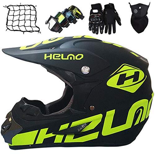 Casco Motocross Niño 5~12 Años ECE/DOT Homologado Casco Moto Integral Unisex para Moto Cross Descenso Enduro MTB Quad BMX Bicicleta (Gafas+Máscara+Guantes+Red de bungy) - MJH-01 - Negro Mate