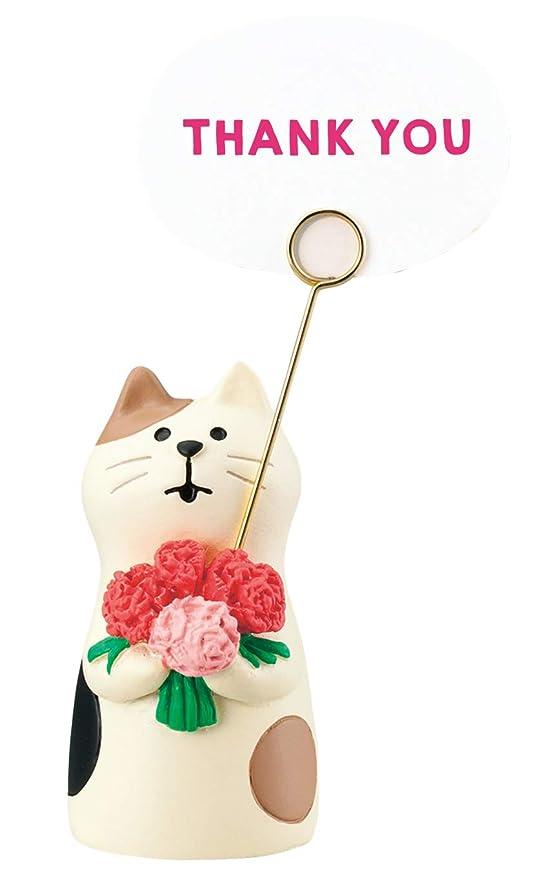 一定医薬シネマデコレ(Decole) 置物 カーネーション猫 2.6×2.8×H5cm 贈りものカードスタンド ZCB-59088