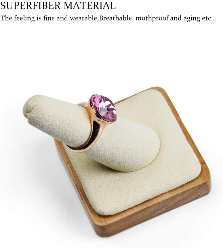 Grey Oirlv Single Finger Wooden Ring Display Stand Jewelry Showcase Display Holder