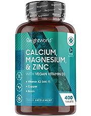 Magnesium, Calcium, Zink en Vitamine D3-400 vegan tabletten voor meer dan 1 jaar voorraad - Glutenvrij, niet-GMO mineralen complex