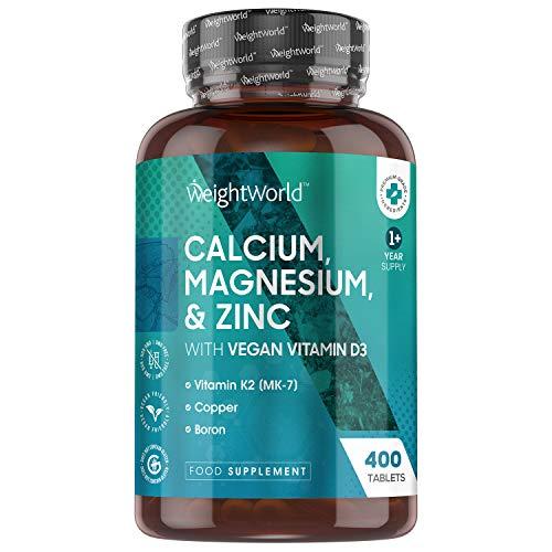 Calcio, Magnesio, Zinc y Vitamina D3 Vegana Dosis Alta 400 Comprimidos, para más de 1 Año - Suplemento de Calcio de Alta Absorción, Enriquecido con Selenio, Vitamina k2, Manganeso, Boro y Cobre