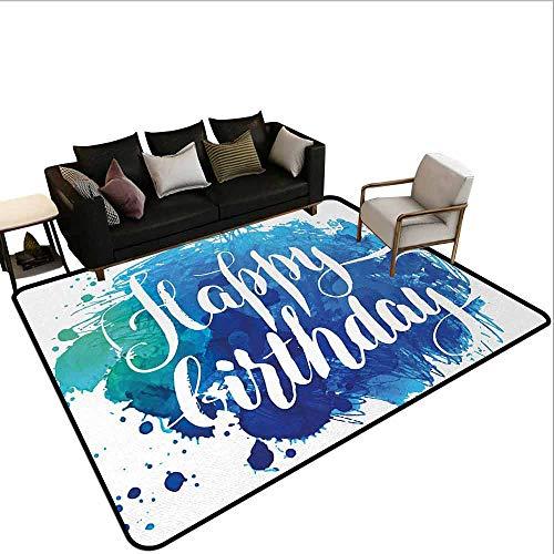 MsShe Superior hal tapijt verjaardag, levendige gekleurde vliegende ballonnen met sterren en Confetti patroon voor leuk evenement, Multi kleuren
