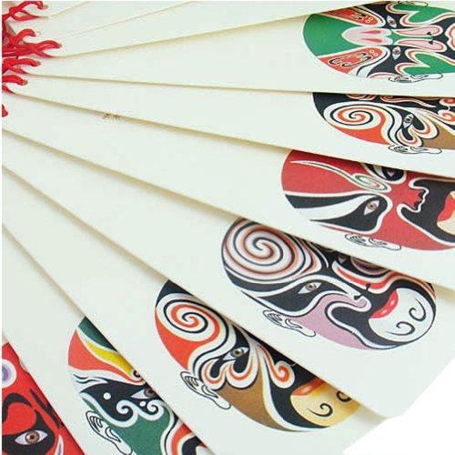 12pcs Beijing Opera Make-up Lesezeichen mit chinesischen Knoten Retro Postkarten