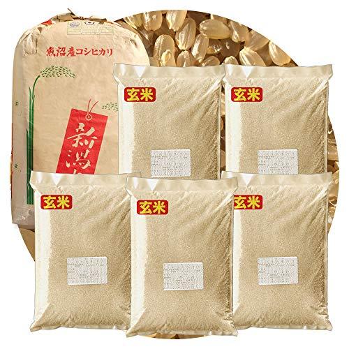 新米 新潟県産 魚沼産コシヒカリ 産直 玄米 25kg (5kg×5 袋) 令和3年産 異物除去調整済