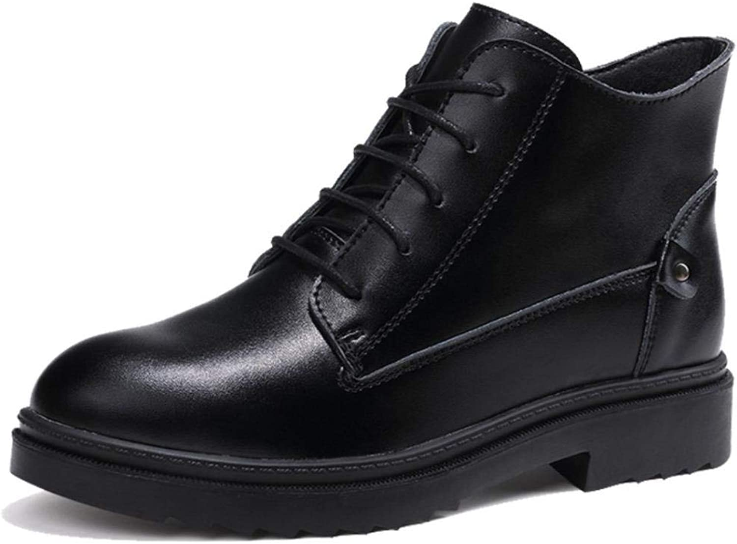 TRULAND Women's Leather Lace Up Ankle Boot Bootie Warm Fur Lining