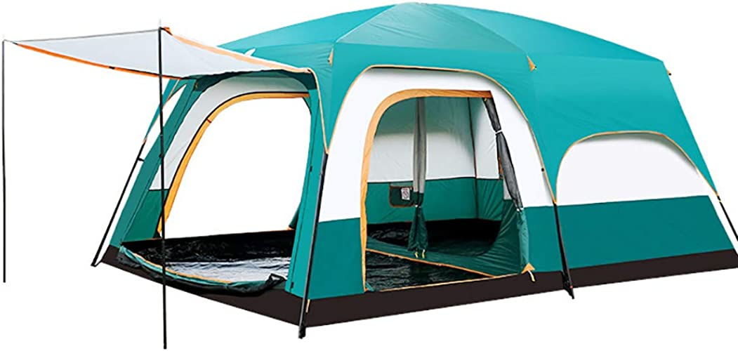 XBR Tente de Camping Tunnel, de Camping avec 2 Chambres et 1 Un Hall Tente Tunnel 100% Imperméable 6 8 10 12 Personnes Equipement du Camping(Bleu)