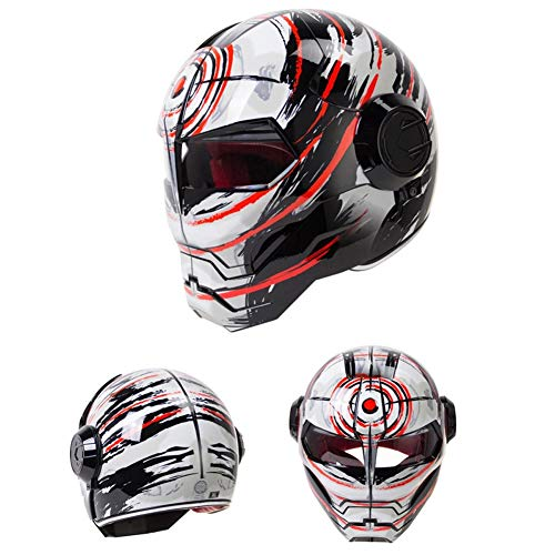 TAIQIXI Super Personality Motorcycle Helmet Bsddp Iron Man Full Helmet Retro-Style Harley Transformers Uncovered Helmet, A - L