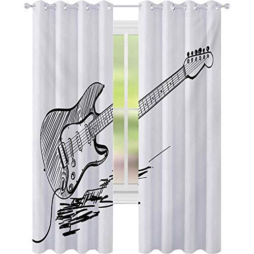 Cortinas de bloqueo de luz, Estilo Dibujado a Mano Guitarra Eléctrica en...