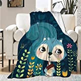 Qutown Squirrel Wild Animal Nature Blanket Throw Soft Lightweight Warm Cozy Flannel Fleece Women Adults and Kids Gifts for Couch Bed Sofa 80'x60' Large for Adult