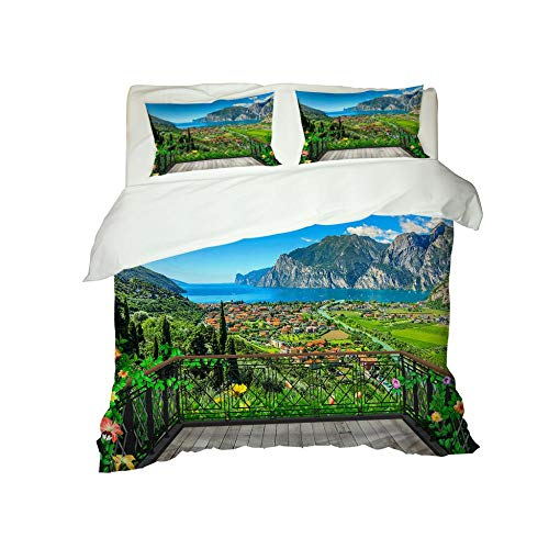 RYQRP Single Duvet Cover Set Blue Sea Landscape Bedding Set with Zipper Closure in Polyester, 3pcs, 1 Quilt Cover 2 Pillowcases for Children Adults, 140x200cm