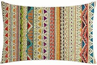 Bohemian Style Colorful Stripes Design Boho Style Cotton Linen Throw Lumbar Pillow Case Cushion Cover Home Office Decorati...