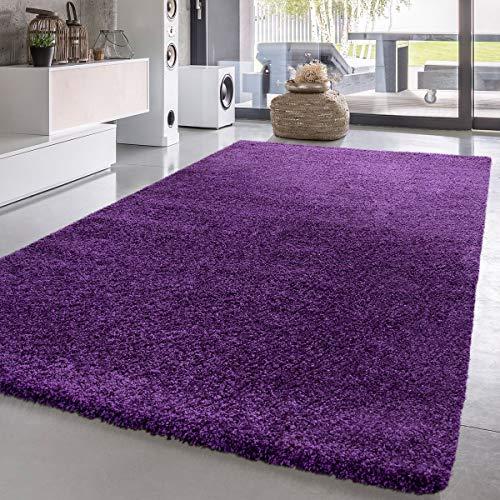Paco Home Shaggy Hochflor Langflor Teppich Sky Einfarbig in Lila, Grösse:140x200 cm