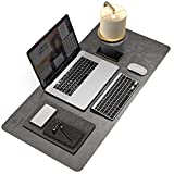 Non-Slip Desk Pad, Easy Clean Waterproof Desk Protector, 2021d Non-Sticky PU Leather Desk Writing Mat Mouse Pad(Grey, 31.5' x 15.7')