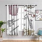 Cortina de decoración de música para dormitorio Instrumentos musicales como violonchelo, guitarra acordeón, trompeta, violín saxofón, impresión fácil de limpiar, multicolor W72 x L72 pulgadas