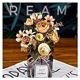 MQH Flor Artificial Té Falso Rose Flor de Seda Fall Gerbera Daisy Flor de plástico Artificial para la Boda Accesorios DE Accesorios DE Accesorios Decoración (Color : Yellow)