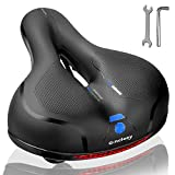 Gincleey Comfort Bike Seat for Women Men,Wide Bicycle Saddle Replacement Memory Foam Padded Soft Bike Cushion with Dual Shock Absorbing Universal Fit for Indoor/Outdoor Bikes with Reflect