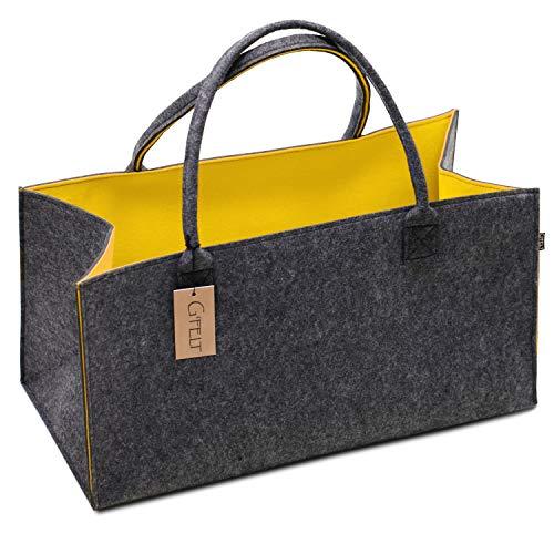 G'FELT Filztasche Premium – als hochwertige Einkaufstasche, schicke Freizeit-Tasche oder Badetasche, Zeitungskorb, Filzkorb, Einkaufskorb, stabile Kaminholztasche - zweifarbig grau und gelb