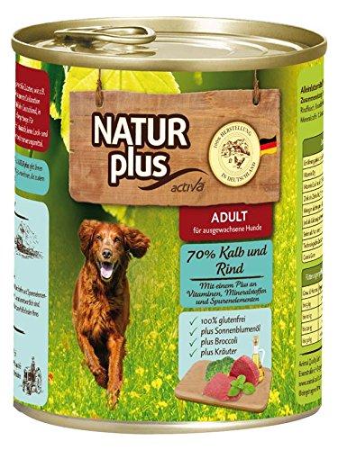 NATUR plus Hundefutter ADULT mit 70% Kalb & Rind (glutenfrei) (6 x 800 g)