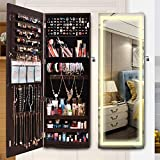 ORAF LED Jewelry Door Mirror Cabinet Armoire, Hanging Jewelry Organizer Box Wall/Door Mounted Full Length with Intelligent Switch Touch Screen, Charger Adaptor, 3 Adjustable LED Lights Colors (Brown)