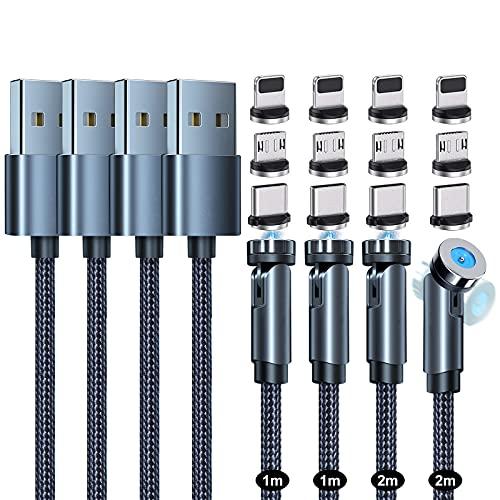 マグネット 充電ケーブル SUNTAIHO 3-in-1 USBケーブル 【4本セット】急速充電 360度+180度回転 磁石 磁気 防塵 着脱式 ライトニング マイクロUSB Type-C コネクタ タイプc Micro USB Cable(1M+1M++2M+2M)- ブラック