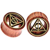 Deathly Hallows Organic Wood Flesh Tunnels Double Flared Ear Stretcher Saddle Plugs Gauge 8mm 0g