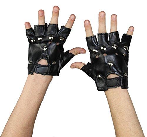 Foxxeo Schwarze Punk Handschuhe mit Nieten für Damen zu Karneval Fasching Halloween Kostüm
