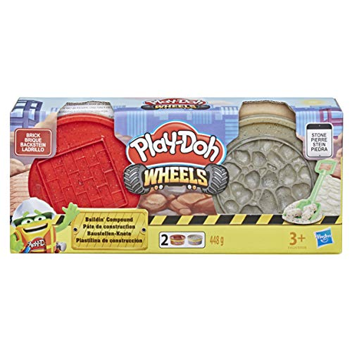 Hasbro Play-Doh- Wheels Vasetti di Pasta Modellabile da Costruzione, Modelli Assortiti, Multicolore, E4508EU4