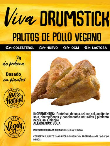 VIVA PLANTA MUSLITOS DRUMSTICKS VEGANOS SABOR POLLO 250g   Sin Gluten   Vegan   Sin carne   100% Vegetal   Plant Based   Sin Gluten
