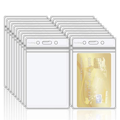 Fushing 20 Porte-badge double en PVC transparent avec fermeture éclair refermable et étanche, porte étiquette en plastique, épaisseur de 0,4 mm d'épaisseur 60 % de 0,25 mm