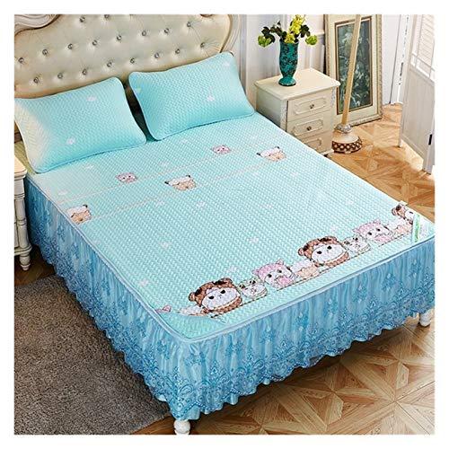 HNTKSM Bed Skirt Bed Base Cover Tencel Matratze Bett Rock-Art Bettdecke DREI Sätze von Bettdecke Ice Silk Anti-Rutsch-Einzelstück-Spitze-Art-Sommer und Sommer (Color : 4, Size : 150cmx200cm)