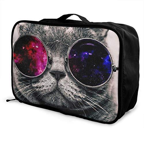 Qurbet Reisetaschen,Reisetasche, Lightweight Large Capacity Portable Duffel Bag for Men & Women Red Black Glass Personality Cat Kitty Sport Duffel Bag Backpack