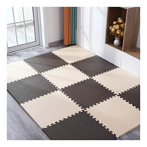 LXZFJW Azulejos que se enclavan la espuma del rompecabezas de la estera con la espuma de EVA que enclavan las baldosas para el suelo protector del juego del bebé Mat-Beige+color café 60×60×2.5cm 12pcs