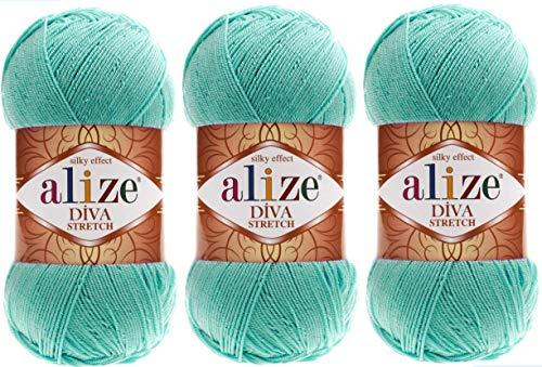 Alize Diva Stretch-Garn, Handstrickgarn, 3 Knäuel, 300 g, elastisch, Mikrofaser, Acryl, Stretch, Bikinigarn 376