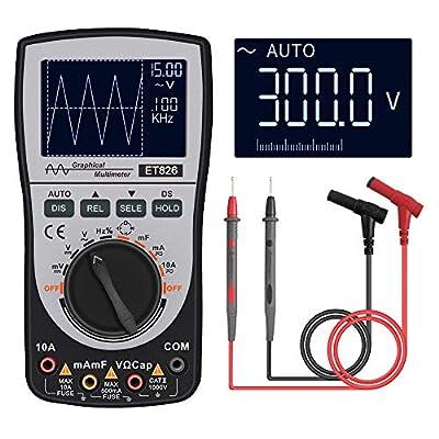 KKmoon Intelligent Digital Storage Scopemeter 2-in-1 Digital 40MHz 200Msps/S One Key Oscilloscope OSC 6000 Counts True RMS Multimeter DMM AC/DC Voltage Current Resistance Capacitance Frequency Meter
