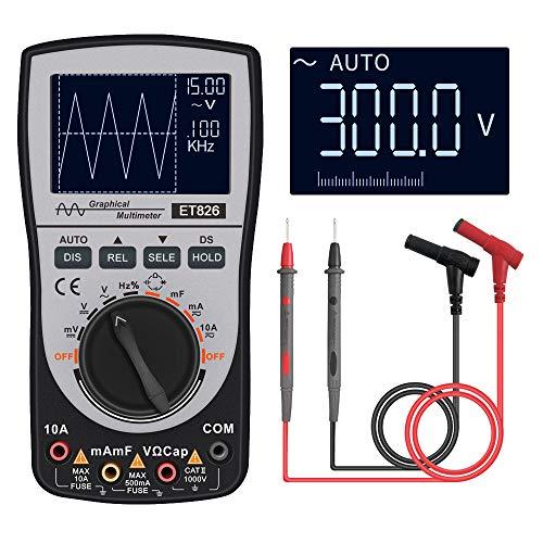 VISLONE Osciloscopio digital inteligente 2 en 1 Multímetro DC/AC Resistencia de voltaje de corriente Probador de diodos de frecuencia (Versión regular)