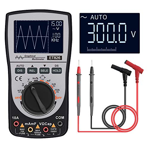 KKmoon Oscilloscope Multimeter 2.0 Update, MT8206 2-in-1 Intelligent Digital Scope Meter Multimeter DC/AC Current Voltage Resistance Frequency Diode Tester 4000 Counts 200KHz Analog Bandwidth